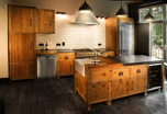 Handmade Kitchen from Reclaimed Wood with Cast Iron Tops